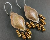 Freshwater pearl and copper swirl patterned long bohemian earrings