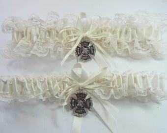 FIREFIGHTER Fireman Wedding garters IVORY lace Garter set