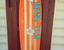 Distressed five foot surfboard, Hang Ten surfboard wall hanging