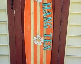 Distressed five foot surfboard, Hang Ten surfboard wall hanging