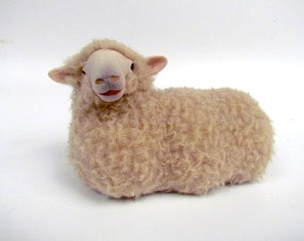 Handmade Sheep Figuine from Porcelain and Wool, English Romney Sheep Figure Lying
