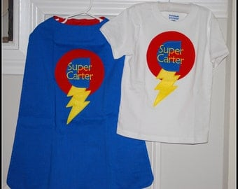 Custom Made EMBROIDERED and Personalized SuperHero Cape and Matching Shirt in Blue and Red