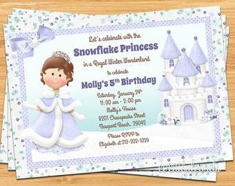 Snowflake Princess Birthday Party Invitation