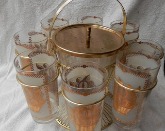 Vintage ice bucket with stand and 8 decorated glasses bar wear