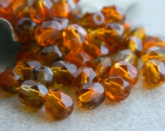 Topaz & Amber Orange Bicolour Beads, Czech Glass Beads, Fire Polished Faceted Round Beads, 6mm, Transparent bicolour  (40pcs) NEW
