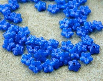 7mm Royal Blue Flower Beads, Czech Glass Daisy Beads (50pcs) NEW