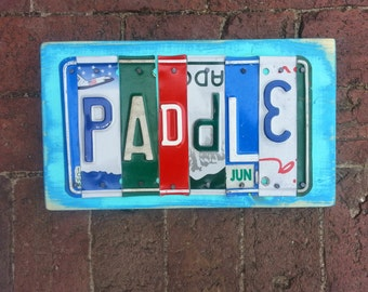 Paddle 6 letter License Plate Name Personalized Kayak Canoe Boat Customized Word Sign Custom Wedding Anniversary Metal Art Recycled Nursery