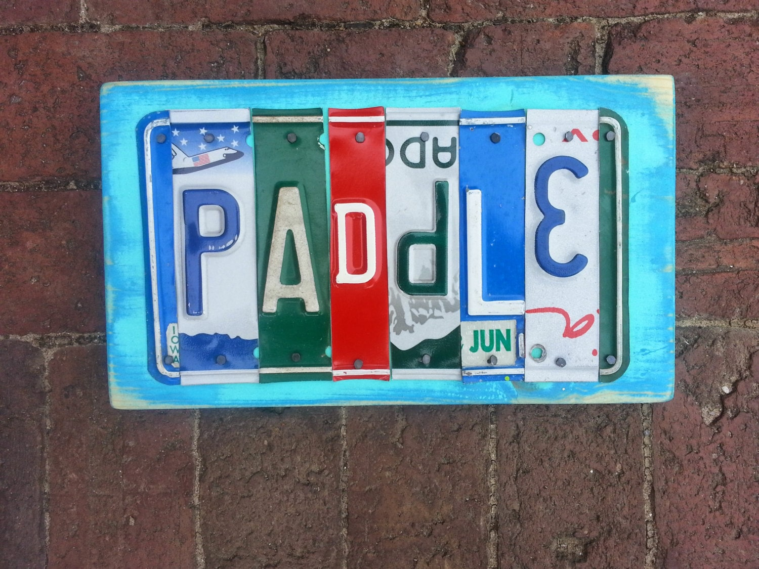 Paddle 6 letter license plate name personalized by for Custom license plate letters