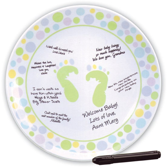 Baby Shower Plate: Baby Shower Autograph Plate Guest Book Memory Plate