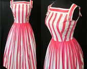 CLEARANCE Adorable 1960's Pink and White Stripped Polished Cotton Summer Day Dress Rockabilly VLV Pinup Vixen Size-Small