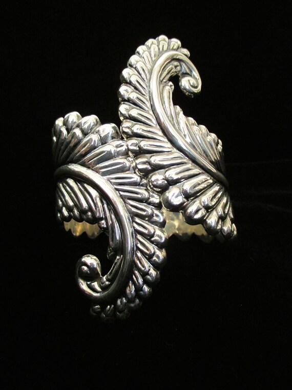 CLEARANCE Amazing Vintage Sterling Silver Leaf Clamp Bracelet Vintage Mexicana Cuff Bracelet Bangle Bracelet Rockabilly VLV PInup