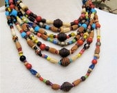 Layered Tribal Necklace Ethnic Jewelry Mixed Elements Wood Necklace Carved Bone Beads