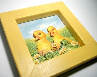 Cut Paper Framed Duck Art, Three Dimensional Cut Paper Art, Vintage Yellow Ducks Nursery Art, Vintage Duck Wall Hanging, Framed Duck Art
