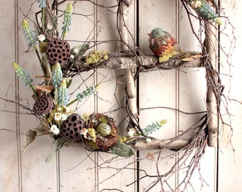 Spring Muscari Window - Spring Summer Wreath - Birch Window - Nest
