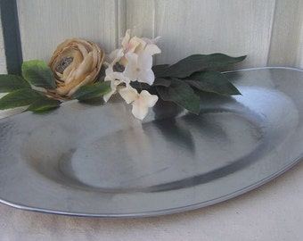 Hammered Aluminum Tray, Shabby Chic, Cottage