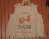 Sugar Sack Dress Jumper Cabin Cottage Decor Feedsack Doll Dress Grain Sack Feed Sack South Dakota