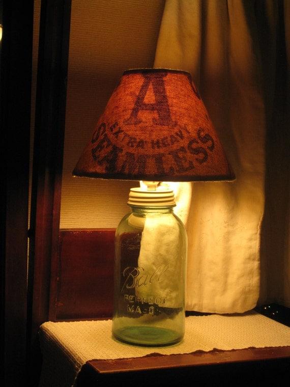 rustic lighting blue mason jar lamp antique grain sack lamp shade new. Black Bedroom Furniture Sets. Home Design Ideas