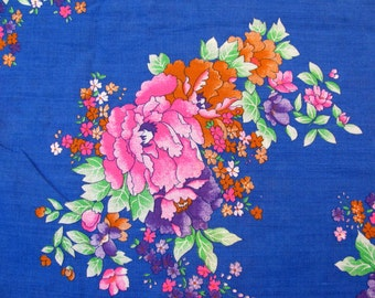 """Vintage 44"""" Wide Fabric -  Bright Blue / Pink / Orange /  Purple Flowers - Selling by the Yard"""