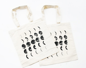 Two Moon Phases Tote Bag - Cotton Tote Bags Set with Eco Friendly Ink  -  Bags and Totes - Moon Calendar Print Tote Bag- Housewares