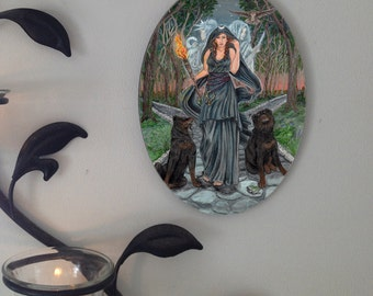 Hecate  Oval Tile Wall Hanging