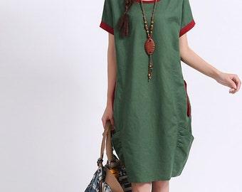 Loose fitting Short Sleeve Sundress Maxi Dresss in Green- K1153