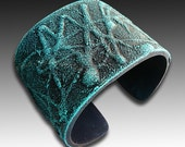 Turquoise and navy blue frosted polymer clay cuff bracelet - adrianaallenllc