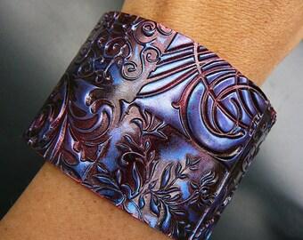 Oxidized copper polymer clay cuff bracelet