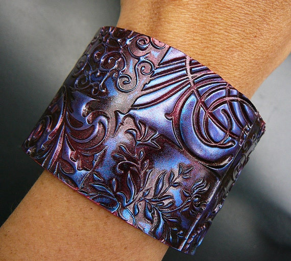 Oxidized copper polymer clay cuff bracelet