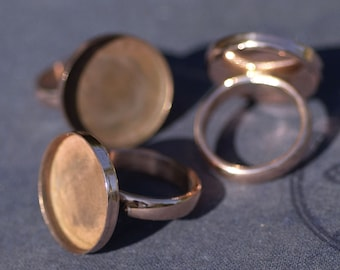 Copper Blank Ring Round Bezel Cup Ring for Resin Gluing or Setting - Size 6