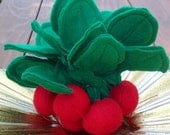 Felt Radishes - Bunch of Felt Radishes or Single Radish - Felt Pretend Play Food for Kids Garden Radish - Realistic Radishes Felt Food Toy