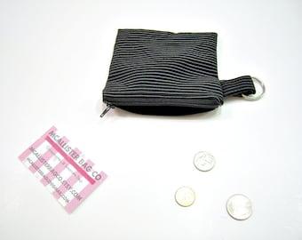 Black and White Striped Zipper Pouch