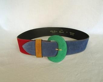 1990s Belt, Sally Gissing, London for Harrods, Suede Color Block, Medium