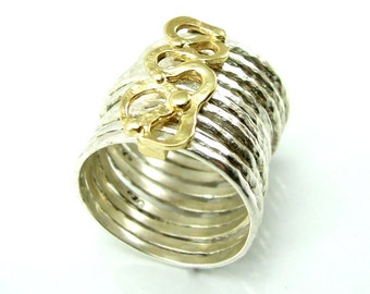Stacking silver ring hammered with gold lace