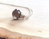 petite faceted brown chocolate smoky quartz onion briolette on sterling silver - kiss necklace