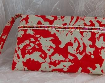 CLOSEOUT - Red and Tan Beaded Batik Wristlet