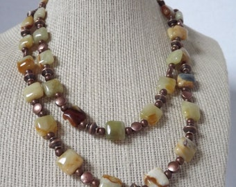 Yellow Jasper and Copper Necklace