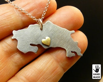 COSTA RICA Map Handmade Personalized Sterling Silver .925 Burnished Necklace in a gift box