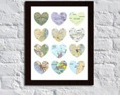 Custom Love Wedding Anniversary Heart Map Print