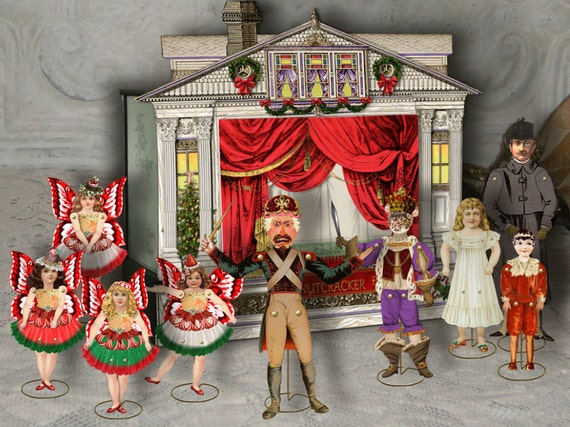 Printable Nutcracker Theater & Puppets Sugar Plum Fairy Puppet Printable Articulated Christmas Paper Doll Digital Collage Sheet Download