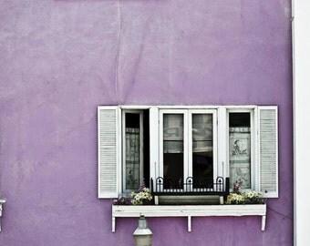Travel Photography, Purple Beach Decor, Shabby Chic, Malibu, California Print, Pastel, Purple, White, Cottage Window