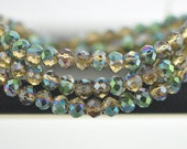 Crystal Rondelle Faceted Glass Beads 4x6mm Amber Green - (BZ06-109)/ 95pcs
