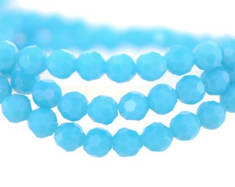 Round Crystal Glass Faceted beads 6mm Opaque Aqua -(32QZ06-33)/ 95pcs