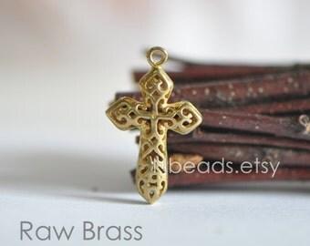 10pcs Raw Brass Filigree Cross Charms, 3D Hollow 22mm, Lead Nickel Free (RB-001)