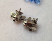 Two (2) Silver Airplane Beads