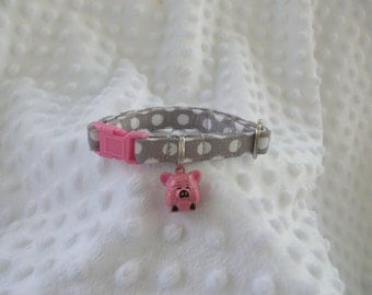 Pink Pig Cat Collar Jingle Bell Breakaway Cat Collar Custom Made