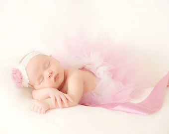 Dusty rose and cream newborn tutu with dusty rose blossom clip. Tiny and perfect for baby girls.