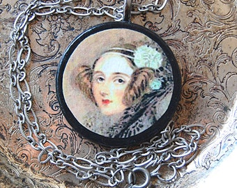 Enchantress of Numbers Handmade Necklace with Vintage Illustration of Ada Lovelace on Round Wood Pendant