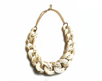 White Chunky Chain Necklace with Gold Specks, Oversized Chunky Chain Link Necklace, White Statement Necklace