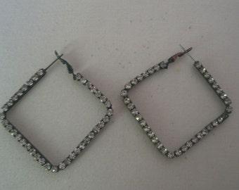 Vintage Geometric Rhombus Shaped Rhinestone Earrings