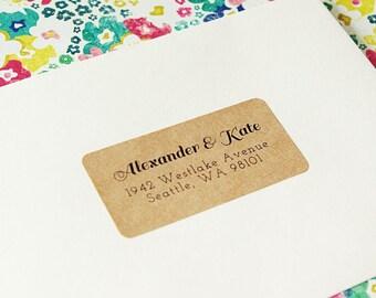 Custom Printed Return Address Labels - Design #06, Brown Kraft Address Labels, Calligraphy Address Label, Wedding Return Address Labels